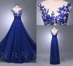 Long Wedding Applique Evening Prom Gown Cocktail Party Formal 2014 Blue Dress in Clothing, Shoes & Accessories, Women's Clothing, Dresses | eBay