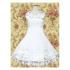 I Lolita dress sweet white cotton sleeveless bow.