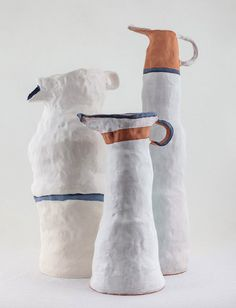 contemporary ceramic art Madeline Preston, White Bird Aquamarines, 2015, glazed earthenware. Photograph by Brett East. Fears that Glenn Barkley's experimental group Kil.n.it with its clout over the scene are premature. So far the only breakout from this group appears to be Preston, whose vessels, at times strangely bloated and at others with anorexic volumes, have great potential to forge a new figurative form and painting genre.