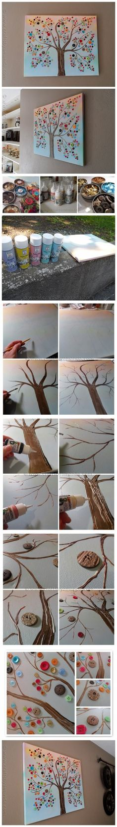 How to make vibrant DIY button tree canvas wall art step by step tutorial instructions 512x3618 How to make vibrant DIY button tree canvas w...