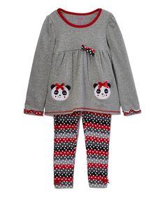 Gray & Red Panda Tunic & Leggings - Girls