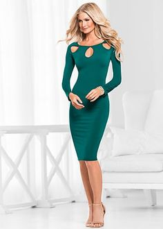 Cut out neck dress available in sizes XS - XL in black and dark green