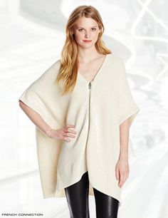 French Connection Women's Honeycomb Stitch Open Cardigan Sweater