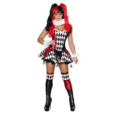 3 piece court jester cutie includes lace up corset, skirt with sequin panels and bells, and neck piece. Color: black and red. Includes lace-up corset with sequin panels and skirt with sequin panels and bells. Sexy Adult Costumes, Sexy Costumes For Women, Sexy Halloween Costumes, Christmas Costumes, Halloween Kostüm, Harley Costume, Halloween Images, Jester Costume, Corset Costumes