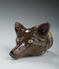Staffordshire Pearl-Glazed Fox's Head Stirrup Cup, Attributed to the Rockingham Pottery, Circa 1800 - Length 5 inches