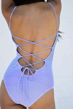 Striped Key Hole One-Piece Swimsuit www.pleatedempire.com