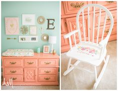 A&M Cunningham Photography coral and mint nursery newborn lifestyle photo shoot nursery, changing table, rocking chair