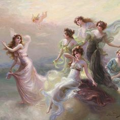 Goddesses on Mount Olympus - by Edouard Bisson French painter. Renaissance Paintings, Renaissance Art, Images Victoriennes, Bel Art, Art Ancien, Old Paintings, Romantic Paintings, Victorian Art, Classical Art