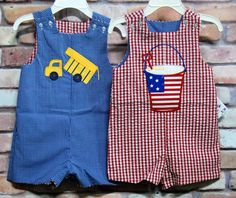 $33 Sale--Summer 2012 collection.  Reversible shortall provides the perfect outfit for July 4th and a general applique to wear for the rest of the summer!