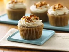 Apple-Spice Cupcakes with Maple Cream Cheese Frosting and Candied Walnuts (Gluten Free)