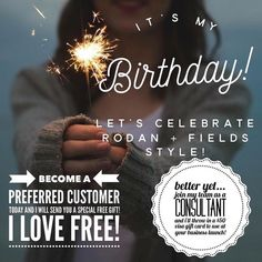 It's MY BIRTHDAY MONTH!! Celebrate with me and try Rodan+Fields for yourself plus get a free gift!! There's a 60 day money back guarantee but less than 1% actually return their products because it works! Or join my team by purchasing one of our top 2 business kits and you can get $50! #imfeelingthelove #rodanandfields #birthdaycelebration