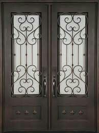 Beautiful wrought iron exterior doors at discount prices in Houston, Texas. Hand forged grilles with hand finished iron, these front doors are cheap on price but not on quality. Double Front Entry Doors, Iron Front Door, Mediterranean Doors, Discount Interior Doors, Victorian Front Doors, Modern Exterior Doors, Double Door Design, Window Grill Design, House Gate Design