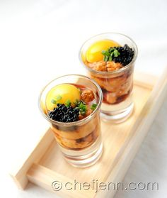 Found: Uni shooters, uzura (quail egg), black tobiko, and pouzu from Chef Jenn. I don't know what any of these things are but it looks awesome.