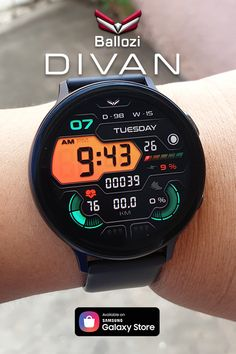A futuristic watch face compatible for Gear Sport, Gear Galaxy Watch, Active 1 and Active Digital Watch Face, Mens Pinky Ring, Best Smart Watches, Safe Room, Digital Clocks, Watch Faces, Smartwatch, Fashion Watches, Futuristic