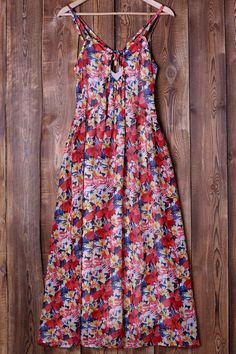 Sweet Full Flower Print Spaghetti Strap Maxi Dress #Sweet #Floral #Maxi_Dresses #Summer_Dresses