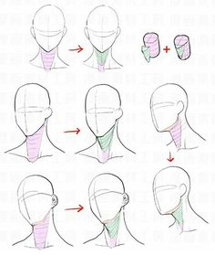 Manga Drawing Tips Neck Drawing, Drawing Heads, Body Drawing, Anatomy Drawing, Drawing Faces, Human Figure Drawing, Figure Drawing Reference, Art Reference Poses, Anatomy Reference