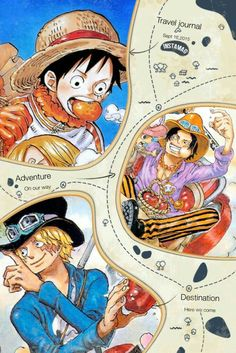 Ace, Sabo, Luffy, brothers, funny, meat, food, text; One Piece