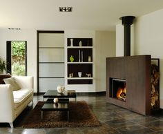 cheminee eurofocus 950, foyer ouvert pivotant à bois. Ce modèle a ...