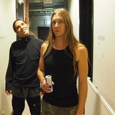 Seregor [Dennis Droomers] (back) and Namtar [Ivo Wijers] (front) of Carach Angren.   Hahahaha Seregor's face!