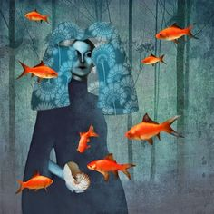 Waving in the Blue - Surrealism Photograph Collage by Daria Petrilli Art And Illustration, Portrait Illustration, Art Illustrations, Fashion Illustrations, Daria Petrilli, Art Fantaisiste, Surrealism Painting, Art Textile, Arte Popular