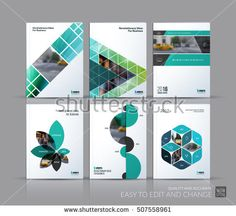Cover design annual report, brochure template layout, magazine, flyer in A4 with triangles, rectangular elements, squares, circles, flowers for business, finance. Abstract vector design set.