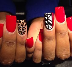 Red Nails with Splash of Cheetah Get Nails, Dope Nails, How To Do Nails, Garra, Nailart, Fabulous Nails, Perfect Nails, Gorgeous Nails, Nail Deco