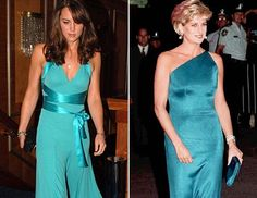 Princess Diana and Kate Middleton both showed their love of light blue evening dresses. Kate was spotted wearing this tied number with a satiny ribbon and Princess Diana showed off her arms with her elegant fitted dress.