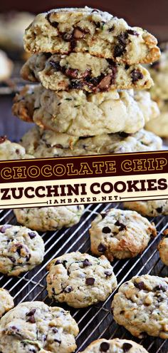 Chocolate Chip Zucchini Cookies are soft and buttery sweet treats full of chocolate deliciousness! The texture of this zucchini idea is soft like cake and thick in size. This homemade cookie recipe is the best dessert idea! Zucchini Bars, Zucchini Cookies, Zucchini Crisps, Healthy Zucchini, Zucchini Bread, Basic Butter Cookies Recipe, Fun Desserts, Cookie Recipes, Sweet Treats