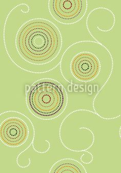 Aboriginal Twirls Green by Martina Stadler available as a vector file on patterndesigns.com Vector Pattern, Pattern Designs, Patterns, Tribal Art, Vector File, Surface Design, Polka Dots, Green, Ornament