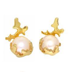 Arosha Luigi Taglia - CORAL and PEARL 14k Gold Post Earrings, Stud Earrings, Italian Fine Jewelry. $440.00, via Etsy.