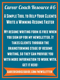Get A Free Resume Writing Form And Mini Guide When You Sign Up For My