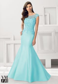 Evening Gowns / Dresses Style 71102: Larissa Satin with Beaded Lace Appliques http://www.morilee.com/socialocassion/vmcollection/71102
