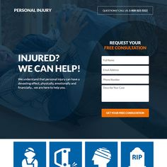 personal injury free consultation responsive landing page Best Landing Pages, Mobile Responsive, Payday Loans, Landing Page Design, Personal Injury, Call To Action, Describe Yourself, Free Quotes, Lead Generation