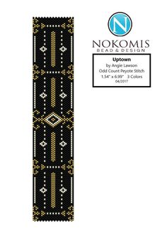 Uptown - Peyote Stitch Pattern Download - Odd Count by NokomisBeadPatterns on Etsy art deco geometric black gold silver