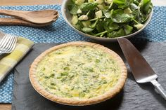 Sugar Snap Pea & Farmer's Cheese Quiche with Spinach, Feta & Cucumber Salad. Visit https://www.blueapron.com/ to receive the ingredients.
