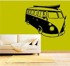 Volkswagen VW Bus Wall Decal Surfer Surf by sunsetsigndesigns -will be ordering this for Linc's Surfer buggy room!