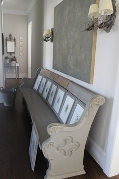 Gray and chalk painted white church pew Paint Furniture, Home Decor Furniture, Furniture Makeover, Church Pew Bench, Church Pews, Annie Sloan Chalk Paint Blue, Wood Headboard, Farmhouse Chic, Fashion Room