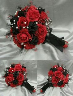 HARLEQUIN Black Red and white Luxury bridal bouquet by ericacavanagh, - Hochzeit Prom Flowers, White Wedding Flowers, Wedding Colors, Black Bouquet, Red Bouquet Wedding, Bridal Bouquets, Rose Bouquet, Wedding Dresses, Wedding Wishes