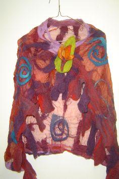 Chiffon Silk felted shawl