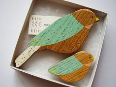 Wooden Wall Birds Mother & baby sets por AnnaWiscombe en Etsy