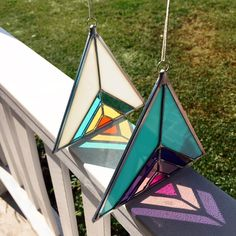 I let these suncatchers hang out on my front porch before shipping them out ☀️ #debbiebean #wheredidtheweekgo #suncatchers #porchlife