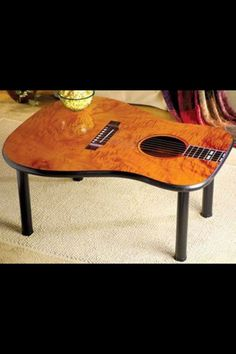 Coffee table made from repurposed guitar face Guitar Crafts, Guitar Diy, Guitar Room, Acoustic Guitar, Music Furniture, Cool Furniture, Guitar Shelf, Diy Home Decor, Room Decor