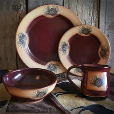 The Vintage Pinecones Red Dinnerware Set will infuse your rustic dining room with a vibrant & rustic dinnerware sets clearance | ... » Rustic Cabin u0026 Lodge ...