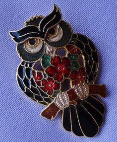 Vintage Cloisonné Enamel Floral OWL Brooch by FISH