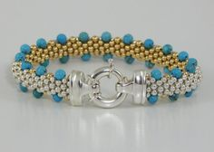 Daylight Turquoise  - Turquoise, Sterling Silver,14K Gold Beaded Reversible Bracelet