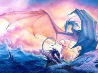 John Howe :: Illustrator - Portfolio :: Home / Cover Art / Robin HOBB / The Liveship Traders: Volume 3 - Ship of Destiny: Tintaglia Water Dragon, Sea Dragon, Dragon Art, Dragon Tales, Blue Dragon, Magical Creatures, Fantasy Creatures, Fantasy Kunst, Fantasy Art
