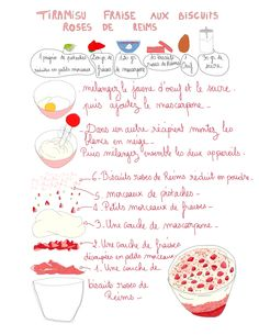 Tiramisù à les framboises - Amazing Foods Menu Recipes Biscuits Roses, Kitchen Drawing, Fruits Photos, Vegetable Drinks, Healthy Eating Tips, French Food, Food Illustrations, Food Menu, Summer Recipes