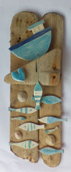 Wood School of Fish Art Panel Sign Wall Decor Vertical Driftwood Colouring, Natural or Sea Glass Colours Beach Lake House by CastawaysHall – Beach House Decor Driftwood Projects, Driftwood Art, Sea Crafts, Wooden Crafts, Wood School, Sea Glass Colors, Wood Creations, Panel Art, Fish Art