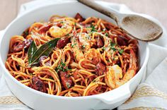 Chorizo and prawn fideos http://www.taste.com.au//recipes/25658/chorizo+and+prawn+fideos