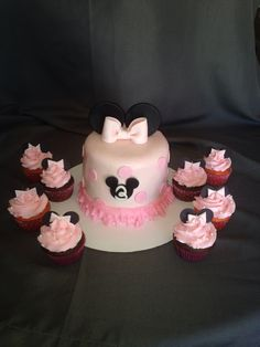 Minnie Mouse cake and cupcakes! -M. K.